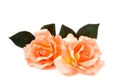Rosas alaranjadas de seda Imagem de Stock Royalty Free