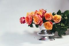 Rosas alaranjadas no vaso em um fundo cinzento Foto de Stock Royalty Free