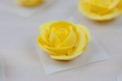 Rosas amarelas da crosta de gelo Fotos de Stock Royalty Free