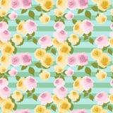 Rosas amarelas e cor-de-rosa que repetem o teste padrão Fotografia de Stock Royalty Free
