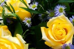 Rosas amarelas em um arranjo Fotografia de Stock Royalty Free