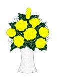 Rosas amarelas no vaso Imagens de Stock
