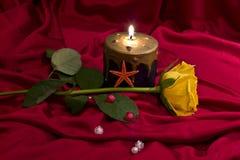 Rosas amarillas con las velas Imagen de archivo libre de regalías