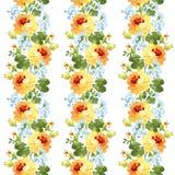 Rosas amarillas del estampado de flores hermoso Imagen de archivo