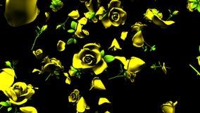Rosas amarillas que caen en fondo negro ilustración del vector