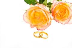 Rosas amarillas rojas y anillo de oro sobre blanco Fotos de archivo libres de regalías