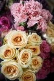 Rosas anaranjadas y clavel rosado Imagen de archivo