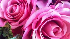 Rosas artificiais do fundo decorativo em uma parede Fotos de Stock Royalty Free