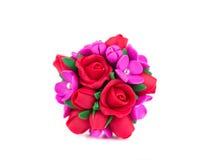 Rosas artificiales hechas a mano Fotos de archivo