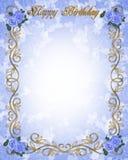 Rosas azuis 3D do convite do aniversário Imagens de Stock Royalty Free