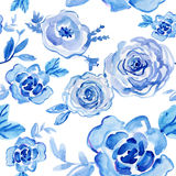 Rosas azuis aquarela pintado à mão, ilustração do vintage Foto de Stock