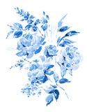 Rosas azuis da aquarela - flores, galhos, folhas, botões Fotografia de Stock Royalty Free