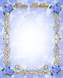 Rosas azules 3D de la invitación del cumpleaños Imágenes de archivo libres de regalías