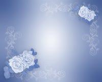 Rosas azules Wedding el modelo de la invitación Foto de archivo libre de regalías