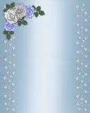 Rosas azules y blancas de la frontera floral Wedding Imágenes de archivo libres de regalías