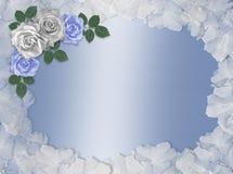 Rosas azules y frontera blanca de la boda Foto de archivo libre de regalías