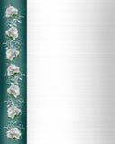 Rosas blancas de la boda de la frontera de la invitación Foto de archivo libre de regalías