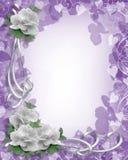 Rosas blancas de la frontera de la boda en la lavanda Fotos de archivo