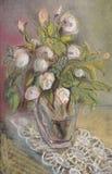 Rosas en un florero stock de ilustración