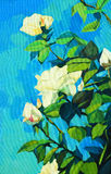 Rosas blancas florecientes, pintando por el aceite en una lona Foto de archivo libre de regalías