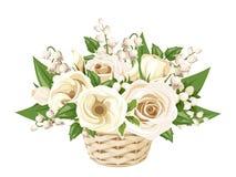 Rosas blancas, lisianthuses y lirio de los valles en cesta Ilustración del vector Foto de archivo