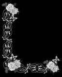 Rosas blancos y negros Wedding la invitación Imágenes de archivo libres de regalías