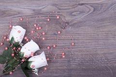 Rosas bonitas com pérolas Fotos de Stock Royalty Free