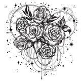 Rosas bonitas desenhados à mão no estilo linear com geometria sagrado e estrelas Tatuagem Art Composição gráfica do vintage Luz d ilustração stock