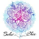Rosas bonitas desenhados à mão sobre a mandala, teste padrão redondo ornamentado Tatuagem Art Composição gráfica do vintage no es ilustração stock