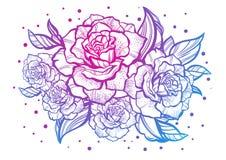 Rosas bonitas desenhados à mão Tatuagem Art Composição gráfica do vintage Ilustração do vetor isolada T-shirt, cópia, cartazes ilustração royalty free