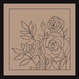 Rosas bonitas isoladas no fundo bege claro ilustração tirada mão com flores Foto de Stock