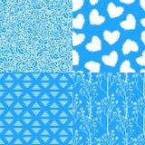 Rosas brancas azuis do inverno abstrato, flor selvagem, coração Grupo de fundos sem emenda dos testes padrões ilustração royalty free