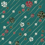 Rosas brancas, vermelhas e pretas da arte abstrato como correntes do diamante do broche e da joia no fundo de turquesa ilustração do vetor