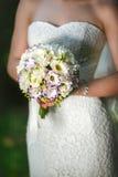 Rosas chinesas nas mãos da noiva Foto de Stock Royalty Free