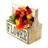 Rosas coloridas da caixa de madeira Imagem de Stock Royalty Free
