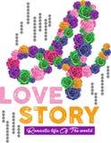 Rosas coloridas de la letra de la historia de amor Foto de archivo libre de regalías