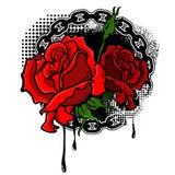 Rosas com fundo do grunge Imagens de Stock