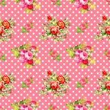 Rosas com teste padrão de às bolinhas cor-de-rosa, fundo sem emenda da textura Imagens de Stock Royalty Free