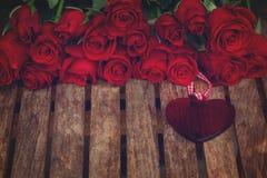 Rosas con el corazón Imagenes de archivo