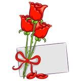 Rosas con la tarjeta en blanco Imagen de archivo libre de regalías