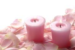 Rosas cor-de-rosa com vela Imagem de Stock Royalty Free