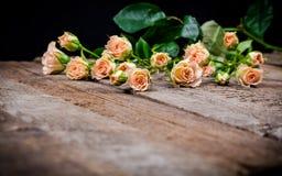 Rosas cor-de-rosa de creme com as folhas no fundo de madeira Fotos de Stock