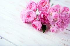 Rosas cor-de-rosa em um fundo de madeira branco do dia de Valentim do fundo com as rosas cor-de-rosa sobre a tabela de madeira Co Fotos de Stock Royalty Free