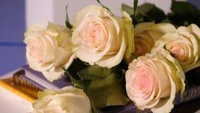 Rosas cor-de-rosa em um livro velho Fim acima da flor cor-de-rosa da pétala cor-de-rosa com o ramalhete cor-de-rosa da flor da ro Fotos de Stock Royalty Free