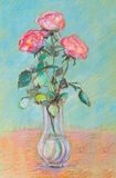 Rosas cor-de-rosa em um vaso de vidro Imagens de Stock Royalty Free