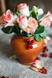 Rosas cor-de-rosa em um vaso feito da argila com bagas Imagens de Stock Royalty Free