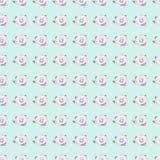 Rosas cor-de-rosa sem emenda no fundo azul Fotografia de Stock Royalty Free