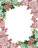 Rosas da beira do convite do casamento Fotos de Stock