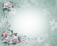 Rosas da beira do convite do casamento ilustração stock