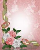Rosas da cor-de-rosa da beira do convite do casamento Imagem de Stock